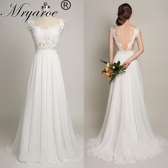 Mryarce Sexy Backless Beach Wedding Dress With Cap Sleeves Sheer Bodice Lace  Chiffon A Line Bridal Gowns b352399d920f