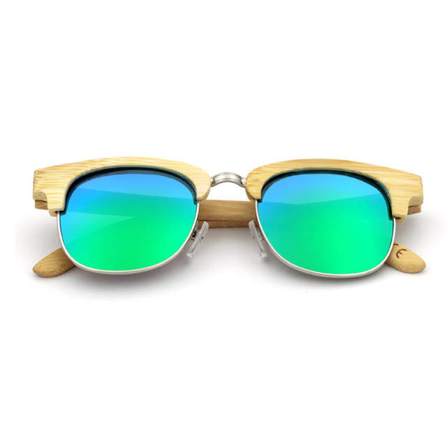 989be1f23a8 Fashion Unisex Metal Nose Bridge Polarized Glasses High-end Half Frame  Bamboo Wood Sun Glasses