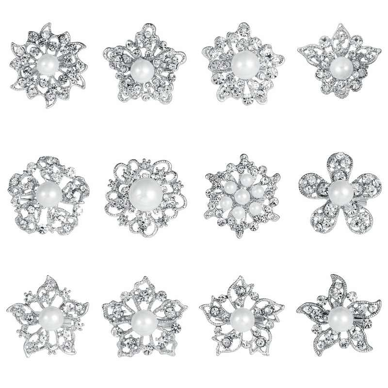 baiduqiandu lot of 12pcs Mixed Shell Pearl and Crystal Rhinestones Flower Brooch Pins for Women or DIY Wedding Bouquets