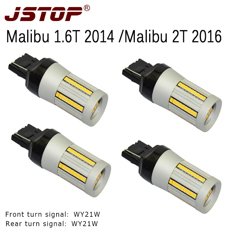 JSTOP 4pcs/set led Turn Signal T20 7440 12V Canbus yellow WY21W W21W Front Rear Turn Signal No Hyper Flash turn lights No error jstop 4pcs set i40 i45 sonata veloster no error no hyper flash car front rear turn signals 12v bau15s py21w led auto turn signal