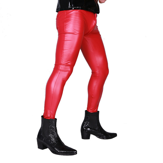 Hot Modis Sexy Men PVC Stage Dance Wear Fetish Faux Leather Pencil Pants  Skinny Pants Legging Gay Club Dance Wear Erotic Shiny 5
