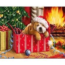 Yikee Алмазная картина маленькая собака круглые сверла полный