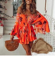 2019 Women Sexy Off Shoulder Boho Palysuit Floral Beach Summer Short Jumpsuit Flare Sleeve Casual Romper off shoulder floral embroidery romper