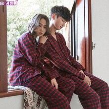 Ternos de inverno feminino casal conjunto de pijama 2018 coreano pijamas de algodão manga longa senhoras pijamas plus size M XXL