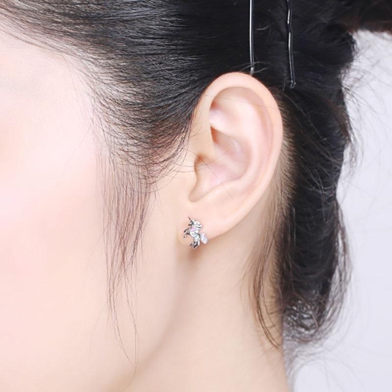 Trendy 925 silver Unicorn rhinestones Earrings for kids pendientes unicornio aretes unicornio in Stud Earrings from Jewelry Accessories