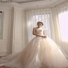 2018 Luxury  Strapless Custom Made Ball Gown Crystal Beaded Long Wedding Dresses Bridal robe de mariee