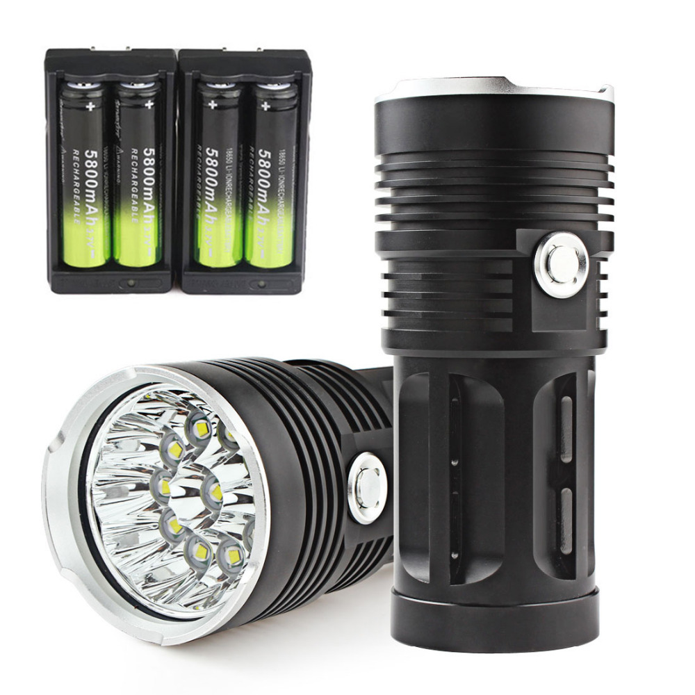 SKYRAY 20000LM 11x XML T6 LED Flashlight Torch Lamp Super Bright Waterproof 18650 Outdoor Hunting Flash Light + 18650 Battery 18led cree t6 led flashlight outdoor camping light lamp 20000 lumens waterproof super bright flashlight torch 1200m distance