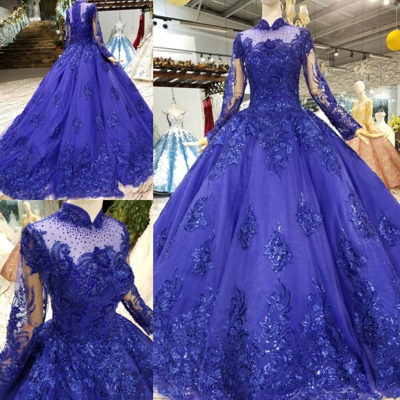 Vintage Dresses Blue Wedding: Royal Blue Vintage Ball Gowns Wedding Dresses High Neck