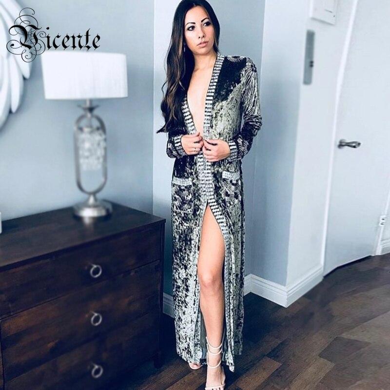 Vicente CHAUDE 2018 Nouvelle Mode Élégante Luxe Perles Agrémentée de Poche Manches Longues Party Celebrity Femmes Cardigan Velours Veste