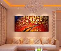 Canvas painting on the wall oil painting for entrance way canvas wall art photos palette knife hand painted Yellow flower tree