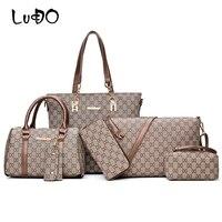 LUCDO 6 Pcs/Set Bags Women Handbags Leather Shoulder Bags Totes Clutch Bag Female Purses Key Holder Designer Sac A Main Femme
