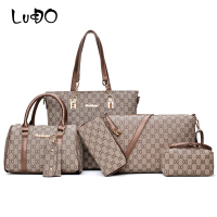 LUCDO 6 Pcs/Set Bags Women Handbags Leather Shoulder Bags Totes Clutch Bag Female Purses Key Holder Designer Sac A Main Femme