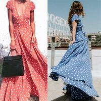 Polka Dot Boho Maxi Skirt Women Red Blue Sexy Deep V Neck Short Sleeve Split Long