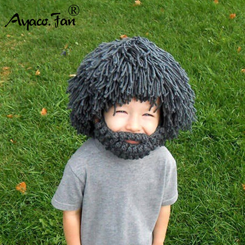 70af4f3ab0d Detail Feedback Questions about 2019 New Wig Beard Hats Hobo Mad Scientist  Caveman Handmade Knit Warm Winter Caps Men Women Halloween Gifts Funny  Party ...