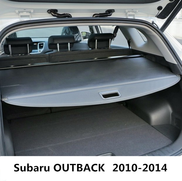 Car Rear Trunk Security Shield Cargo Cover For Subaru OUTBACK 2010.2011.2012.2013.2014 High Qualit Black Beige Auto Accessories car rear trunk security shield shade cargo cover for honda fit jazz 2004 2005 2006 2007 black beige