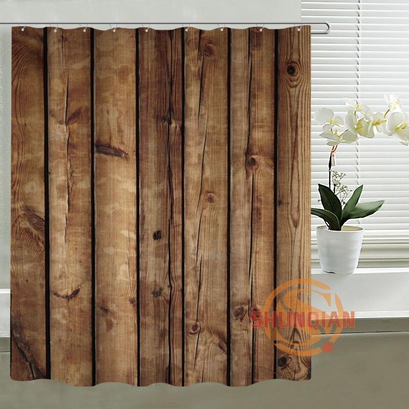 faux bois personnalis rideau de douche polyester tissu crans de bain rideaux pour salle de bains dans rideaux de douche de maison jardin sur - Rideau Salle De Bain Tissu