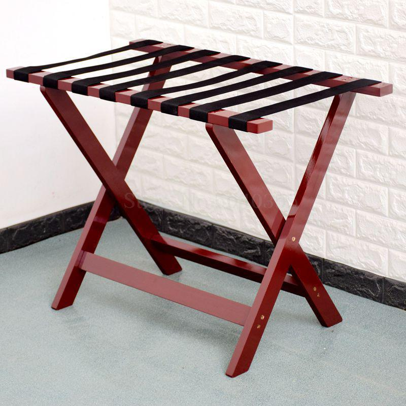 Solid wood luggage rack hotel floor folding racks home bedroom put sleep clothes simple shelves - Цвет: VIP 9