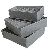 Practical 3 In 1 Underwear Bras Socks Storage Organizer Box Bag Case Bamboo Charcoa Three Kinds