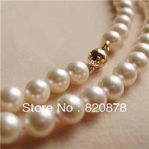 """Wholesale 14K Solid Gold CL 8-9MM White Akoya Pearl Necklace 18"""" fashion jewelry"""