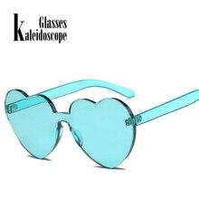 fe25f62d4d9670 Kaléidoscope Lunettes de Coeur D amour lunettes de Soleil Femmes Sans  Monture Cadre Eyewears mâle Femelle Lolita Coeurs Forme Da.