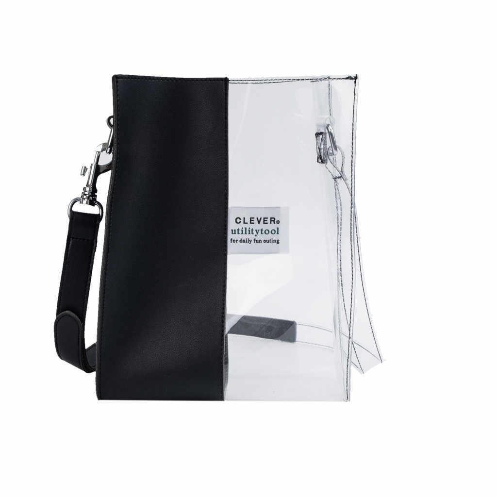 Contrast Stiksels vrouwen tas Mode Transparante Handtas Grote Capaciteit Schouder crossbody tassen sac a main femme