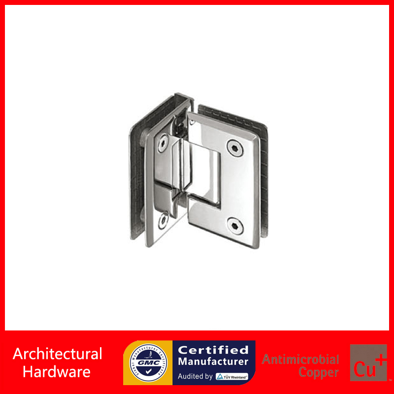 90 Degree Shower Door Hinge 304 Stainless Steel Spring Hinges Glass Clamp Double Side Glass to Glass Fitting DC-1013 black titanium 180 degree hinge open 304 stainless steel glass shower door hinges for home bathroom furniture hardware hm156