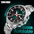 Luxury SKMEI Watch Men Rotatable Bezel Quartz LED Digital Watch Men's Stainless Steel Sport Wrist Watch Relogio Masculino