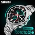 Luxury SKMEI Watch Men Rotatable Bezel Quartz LED Digital Watch Men's Stainless Steel Sport Wrist Watch Relogio Masculino