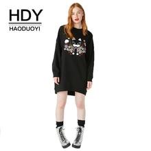 HDY Haoduoyi Women Embroidery Sweatshirt Simple Pop  Prevalent Relaxed Longline Ultimate Oversize Black Autwmn Winter