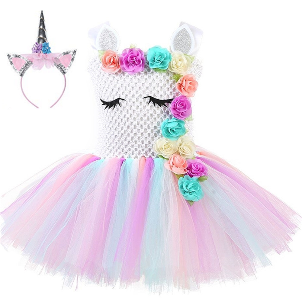 Flower Girls Unicorn Tutu Dress Rainbow Princess Girls Birthday Party Dresses Children Kids Halloween Unicorn Costume