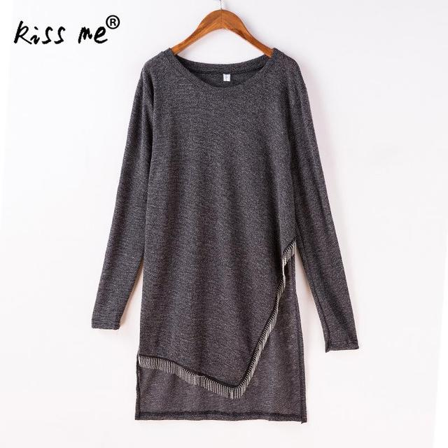 asymmetrical style side split women shirts long sleeve o neck