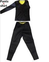 (Long Pants+Long Sleeve shirt ) Women Neoprene Hot Shapers tight fitness Sweat Slimming Vest Body Shaper trainer shirt Pants Set