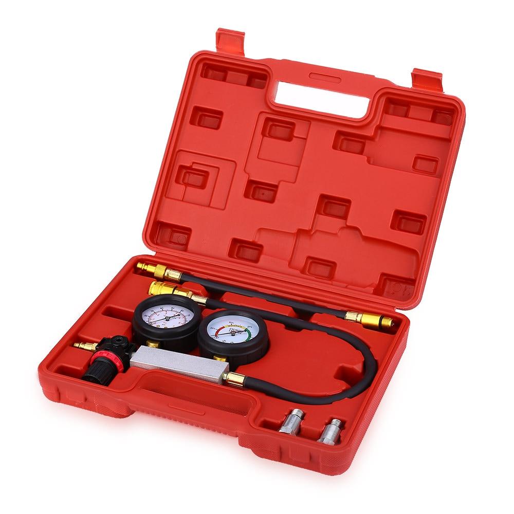 Car Engine Cylinder Leakage Tester Dual Pressure Gauge Diagnostic Kit Double Gauge System Case Compression Leakage Detector