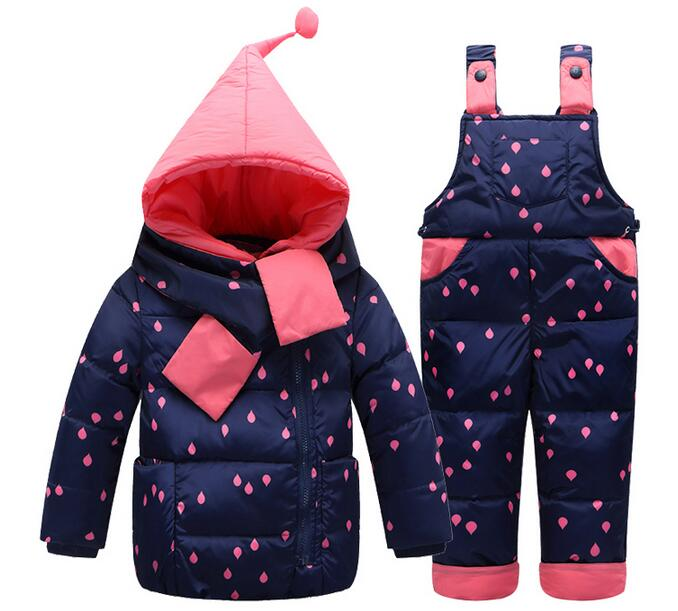 2017 Hot Selling Baby Children Winter Thick Warm White Duck Down Jackets + Pants + Scarves Three Sets Boys Girls Baby cost Suits anlencool hot boys girls children winter