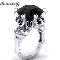 Choucong Antique Skull Jewelry Women Punk Ring 5ct Simulated Black Diamond Cz White Gold Filled Halloween