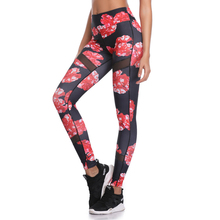 Women Red Mesh Yoga Pants Sports Leggings Fitness Floral Sexy Running Hiking Wear Workout Gym Traning