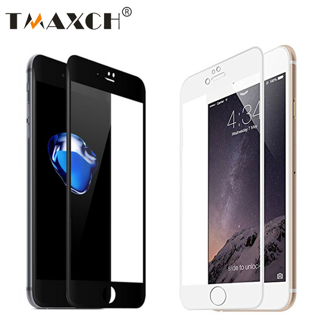 8238d8cb218387 5D Tempered Glass for iPhone 6 6S Front Full Cover 4D Screen Protector Film  For iphone X 7 /8 plus Black / White Color 4.7