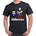 Summer Undertale Game Sans And Papyrus The Skeleton Brothers Black T-shirt Harajuku Cotton Short Sleeve O Neck Shirts Size S-3XL