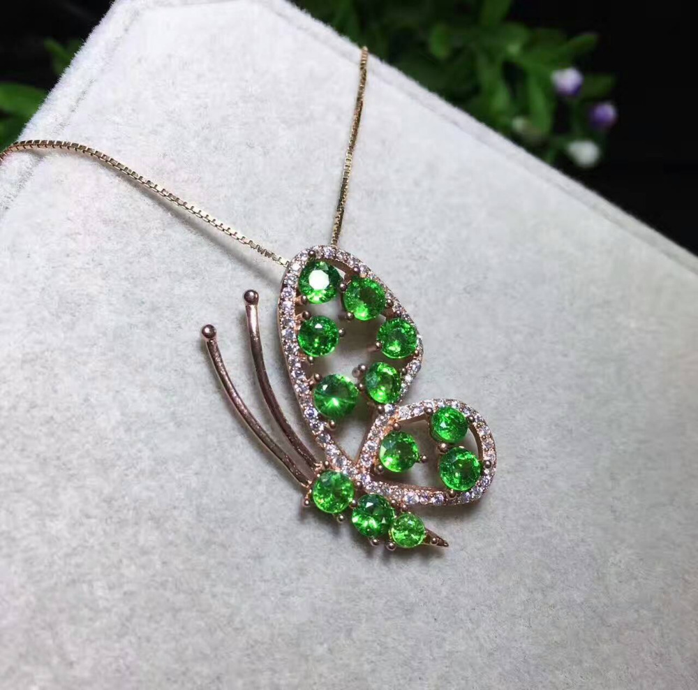 Natural tsavorite tourmaline pendant s925 silver natural green natural tsavorite tourmaline pendant s925 silver natural green garnet pendant necklace trendy lovely butterfly women jewelry in pendants from jewelry aloadofball