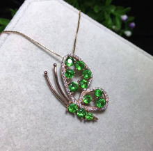 Natural Tsavorite tourmaline pendant S925 silver Natural green garnet Pendant Necklace trendy lovely butterfly women jewelry