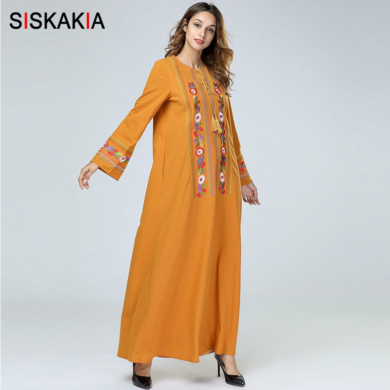 e131871b18026 Siskakia Vintage Ethnic Geometric Floral Embroidery Women Long Dress ...