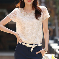 The New 2015 Spring Large Size Ladies European Bud Silk Unlined Upper Garment Of Short Sleeve