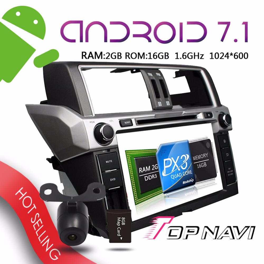 TOPNAVI 9 Android 7 1 Auto Multimedia Players for Toyota Prado 2014 Car Free Map Card