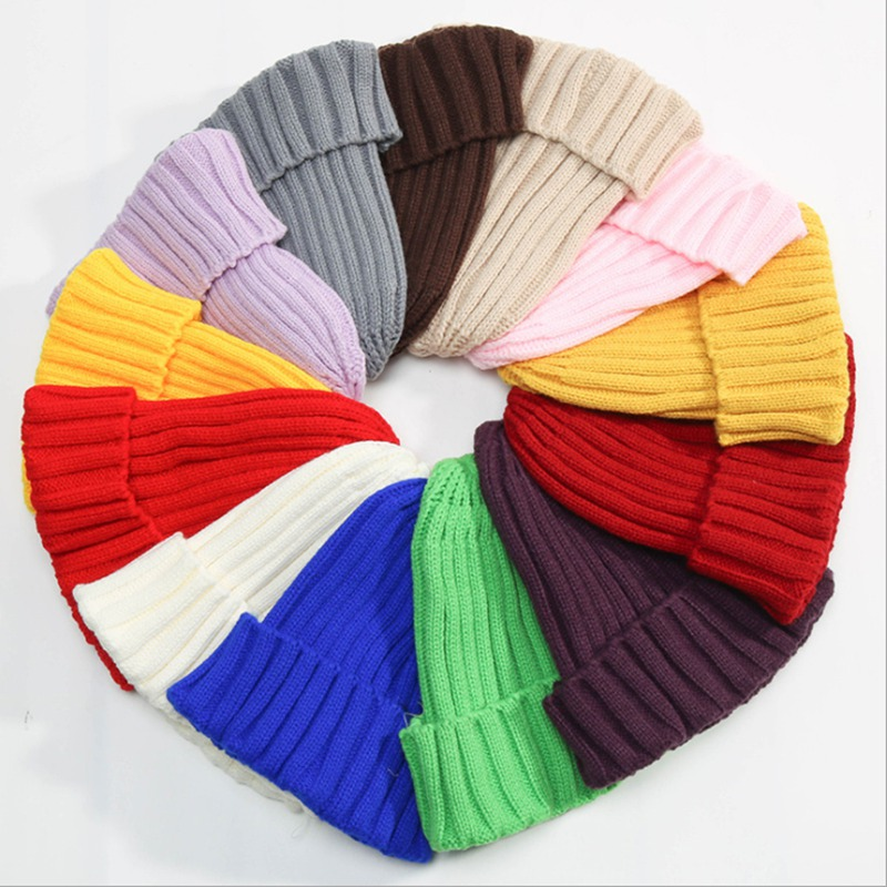 WZCX 2019 New Fashion Solid Color Stripe Baby Knitted Hat Autumn Winter Keep Warm Unisex Candy Colors Beanie(China)