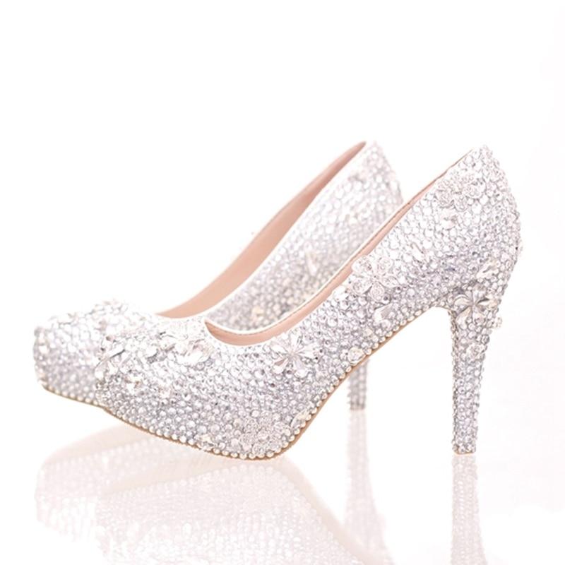 14cm Zapatos Heels Partido 10cm Estilete Del De silver Rhinestone Prom  Magnífico Cristal La Silver Novia Cenicienta Plata 8cm Heels Graduación  Plataforma ... f75dfb461201