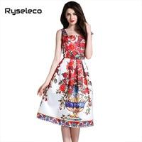 Ryseleco Women 2017 Summer Elegant Vintage Floral Tropical Prints Casual Flare Dresses Slip Spaghetti Strap Casual Tank Vestidos