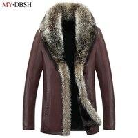 Men Air Force Flight Jacket Fur Collar Top Quality Leather Jackets Men's Black Brown Sheepskin Coat Winter Bomber Jacket Male
