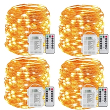 Fairy-Lights Remote-Control-Timer Twinkle-String Battery-Operated 100LED 8-Modes