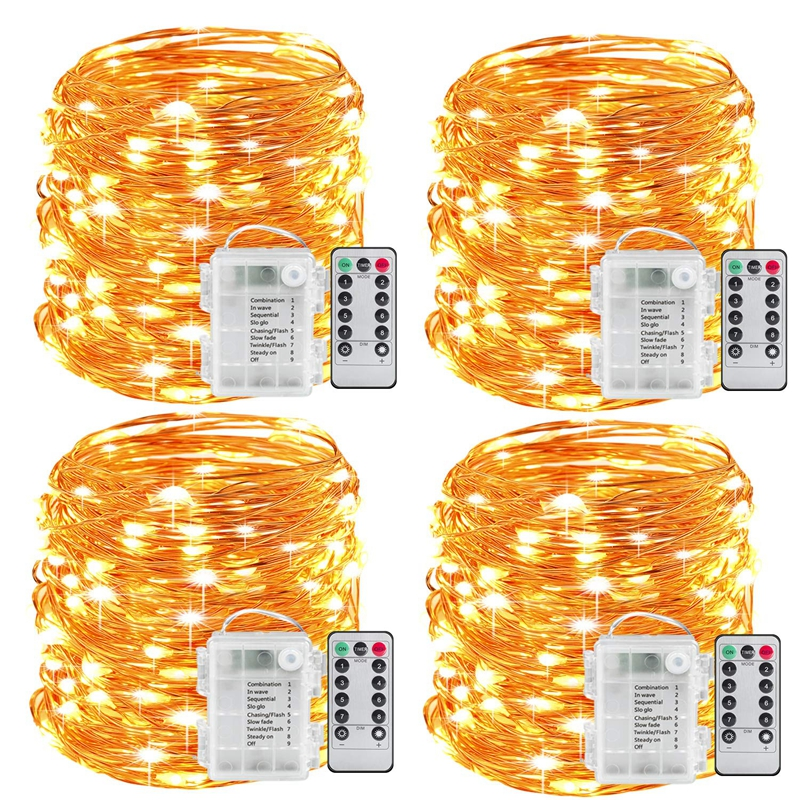 Lumières de fée à piles 100LED chaîne lumières télécommande minuterie scintillant chaîne lumières 8 Modes 16.4 pieds luciole lumières