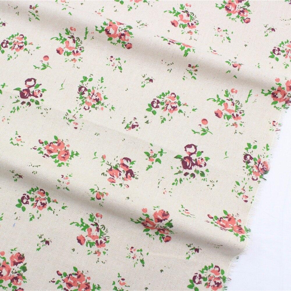 №16628-5F, nueva llegada! Flores algodón Lino Telas tejido llano ...